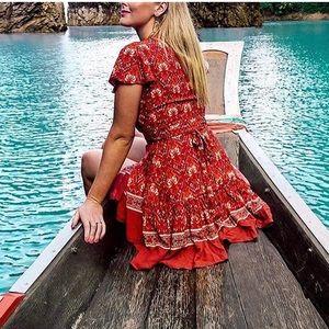NWOT Zesica Red Floral Wrap Dress